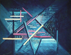 Vitrine de lin - 1981 Acrylique sur masonite 41cm X 51cm Louis Fortier