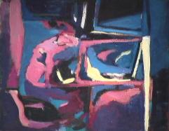 Vitrine arrière - 1981 Acrylique sur toile 41cm X 51cm Louis Fortier