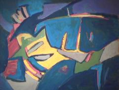 Vitrine Morel - 1981 Acrylique sur toile 41cm X 51cm Louis Fortier