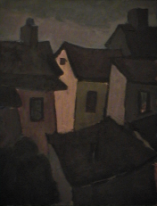 Maison rose - 1977-1979 Acrylique sur masonite 41cm X 51cm Louis Fortier
