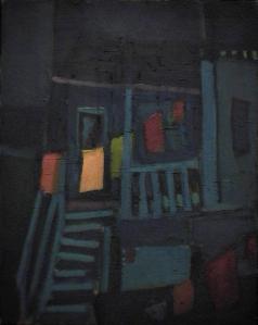 Maison corde à linge bleue