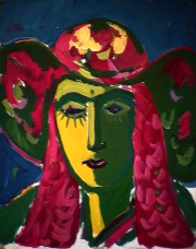 Barbarienne - 1984 Acrylique sur masonite 41cm X 51cm Louis Fortier