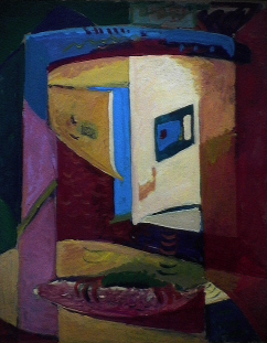 Communion - 1980 Acrylique sur masonite 61cm X 77cm Louis Fortier