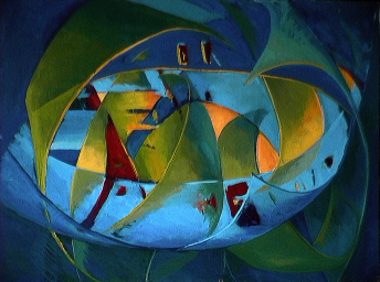 Le grand voilier - 1980 Acrylique sur masonite 91cm X 122cm Louis Fortier