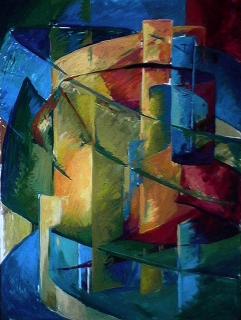 Tours - 1980 Acrylique sur masonite 91cm X 122cm Louis Fortier