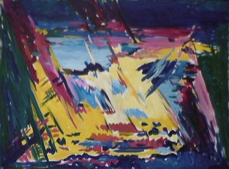 Étang - 1984 Acrylique sur masonite 92cm X 122cm Louis Fortier