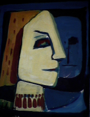 Acceptation - 1984 Acrylique sur masonite 21cm X 26cm Louis Fortier
